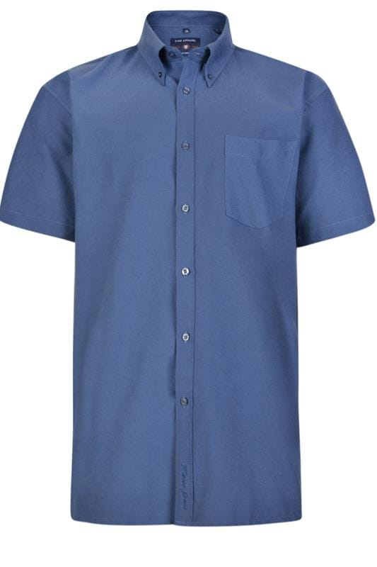 Men's Casual Shirts KAM Navy Oxford Short Sleeve Shirt