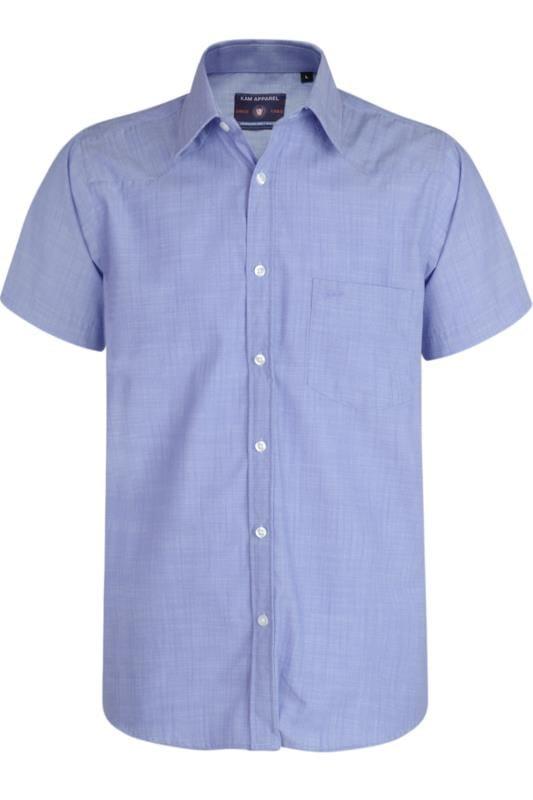 Plus Size Casual / Every Day KAM Denim Blue Slub Shirt