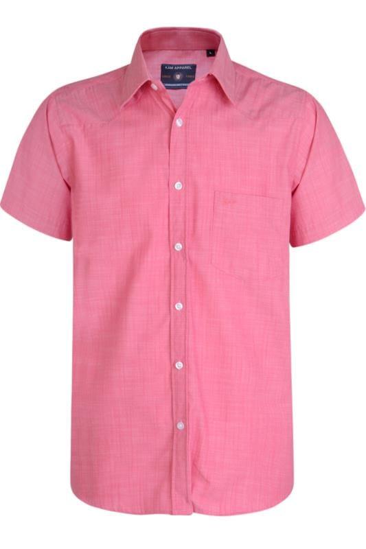 Kam Raspberry Print Slub Shirt