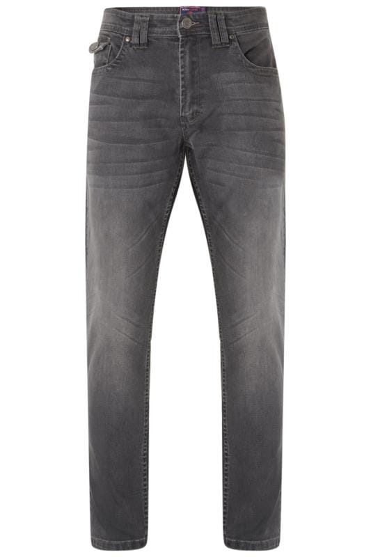 Plus Size Slim Tapered KAM Charcoal Grey Stretch Jeans