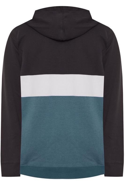 KAM Black & Teal Blue Colour Block Zip Through Hoodie