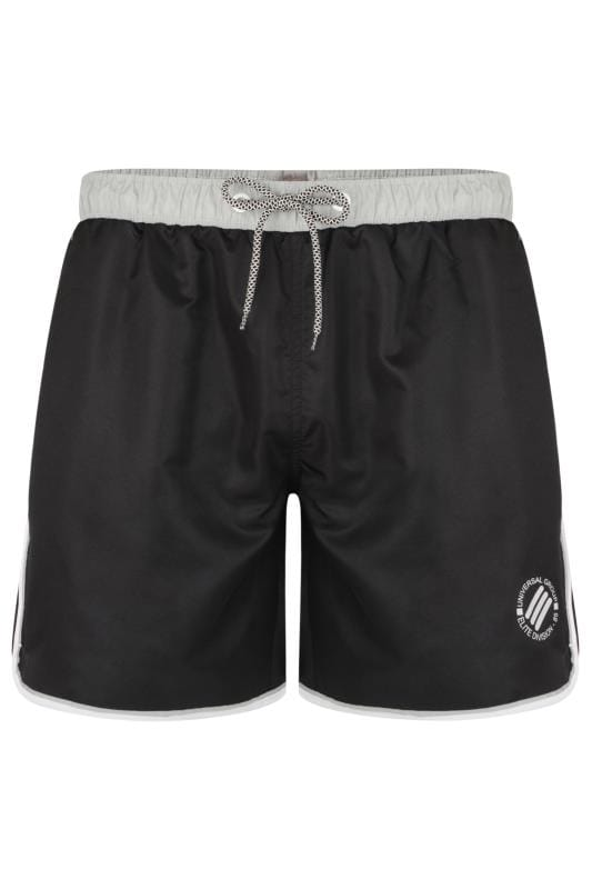 KAM Black Twin Stripe Swim Shorts