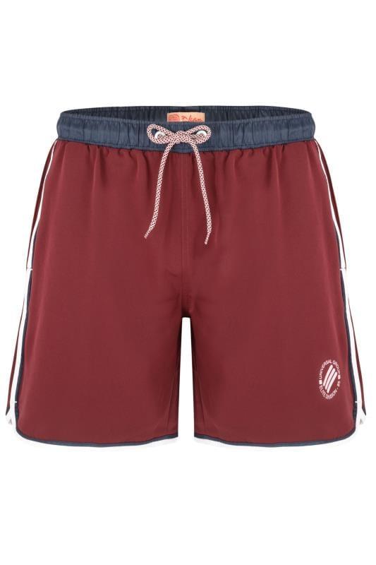KAM Burgundy Twin Stripe Swim Shorts