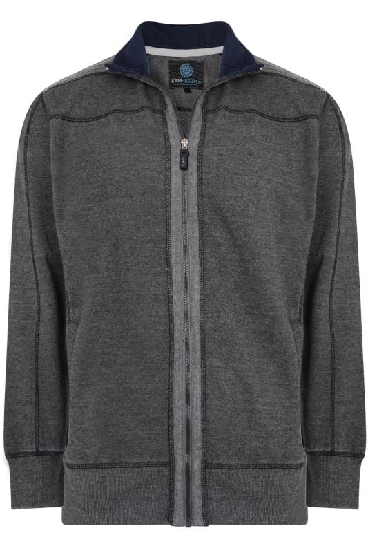 Plus Size Jackets KAM Charcoal Grey Zip Through Jacket