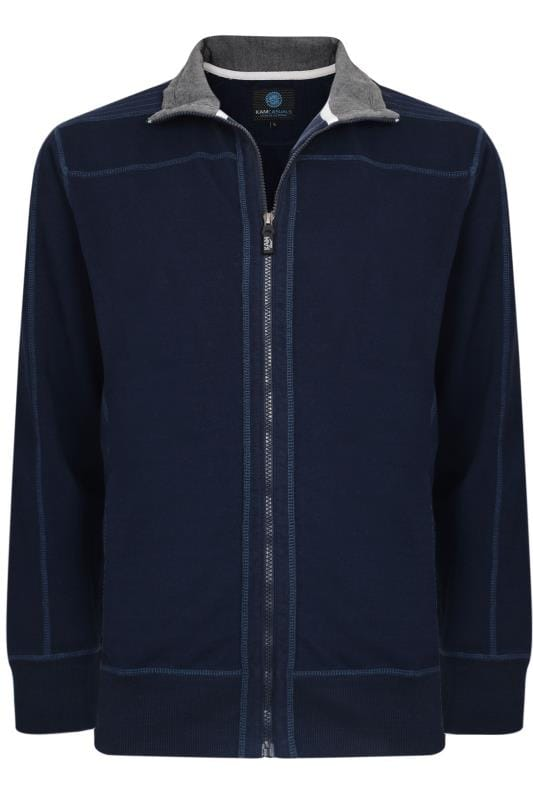 KAM Navy Zip Through Jacket
