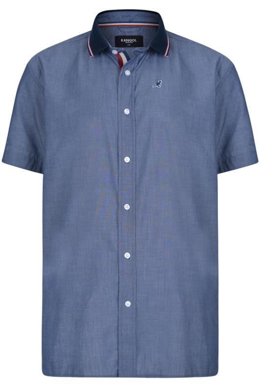 Plus Size Casual Shirts KANGOL Blue Chambray Ribbed Collar Shirt
