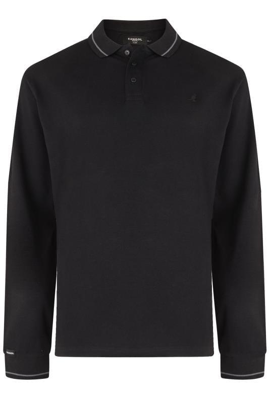 Plus Size Polo Shirts KANGOL Black Long Sleeved Polo Shirt