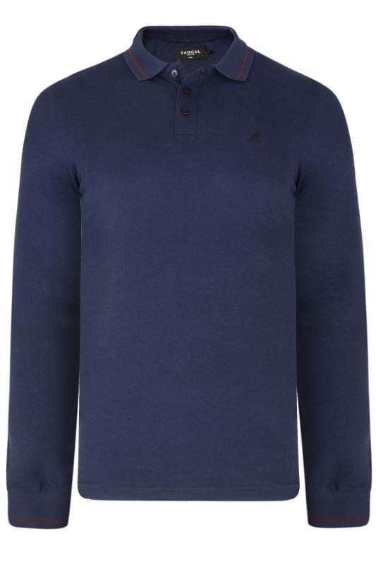 Plus-Größen Polo Shirts KANGOL Navy Long Sleeved Polo Shirt