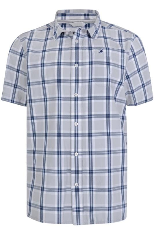 Casual Shirts KANGOL Grey & Navy Check Short Sleeve Shirt 201704