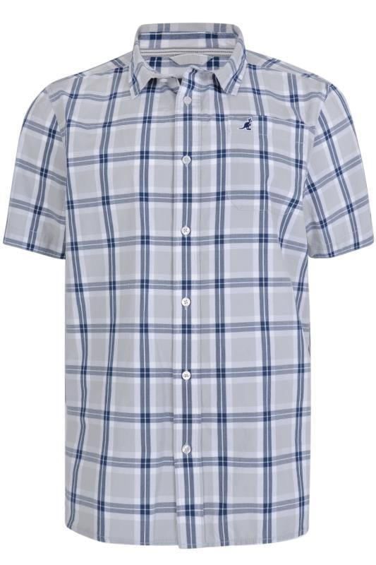 Großen Größen Casual Shirts KANGOL Grey & Navy Check Short Sleeve Shirt
