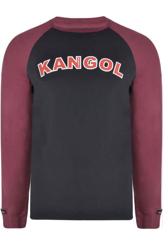 Plus Size T-Shirts KANGOL Black Long Raglan Sleeve Logo T-Shirt