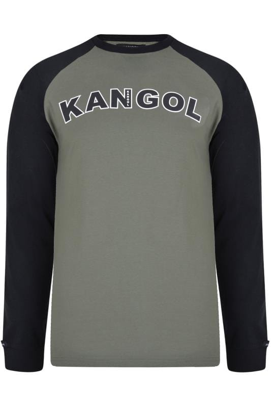 Plus Size T-Shirts KANGOL Khaki Long Raglan Sleeve Logo T-Shirt