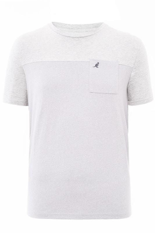 Plus Size T-Shirts KANGOL Grey Marl Colour Block T-Shirt