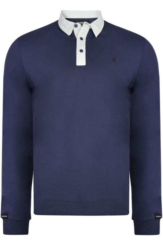 Plus Size Polo Shirts Kangol Navy Long Sleeve Polo Shirt
