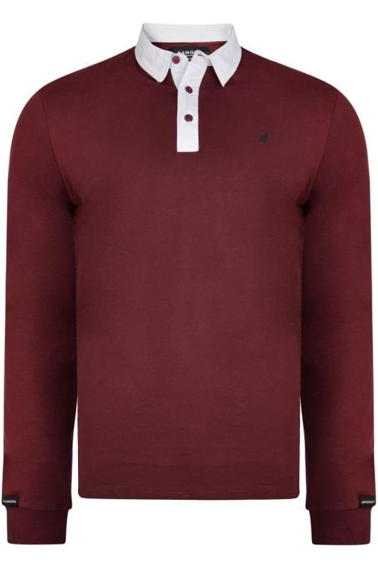 Plus Size Polo Shirts Kangol Burgundy Long Sleeve Polo Shirt