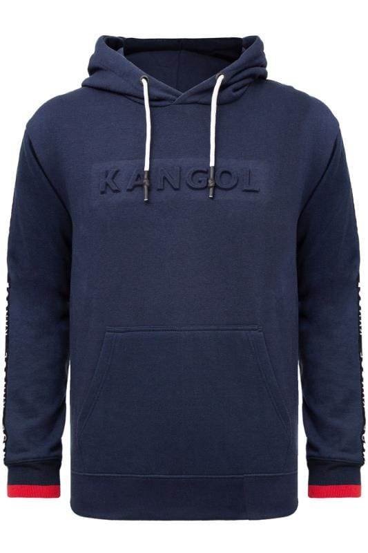 KANGOL Navy Embossed Logo Hoodie