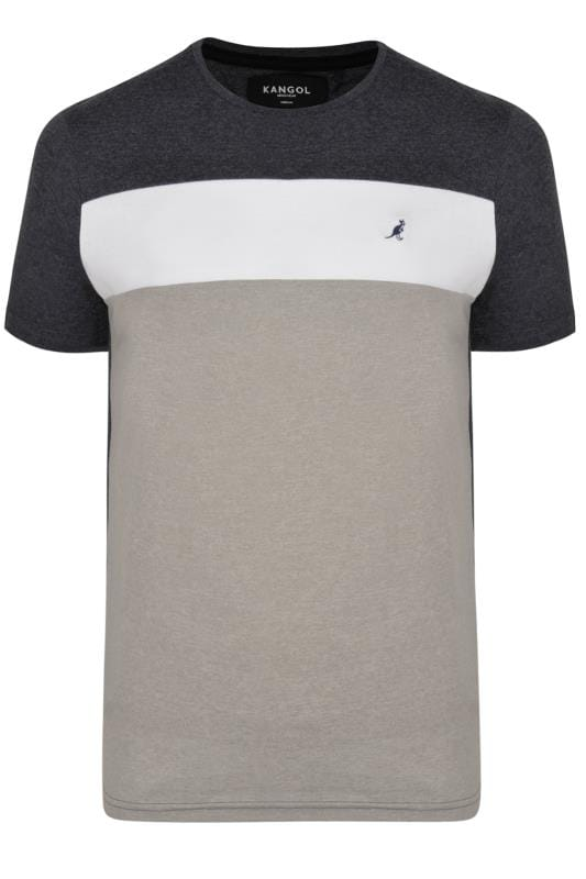 Большие размеры | T-Shirts KANGOL Grey Marl Colour Block T-Shirt