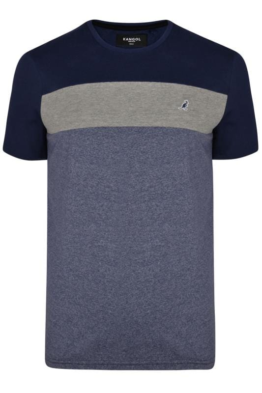 Plus-Größen T-Shirts KANGOL Navy Marl Colour Block T-Shirt