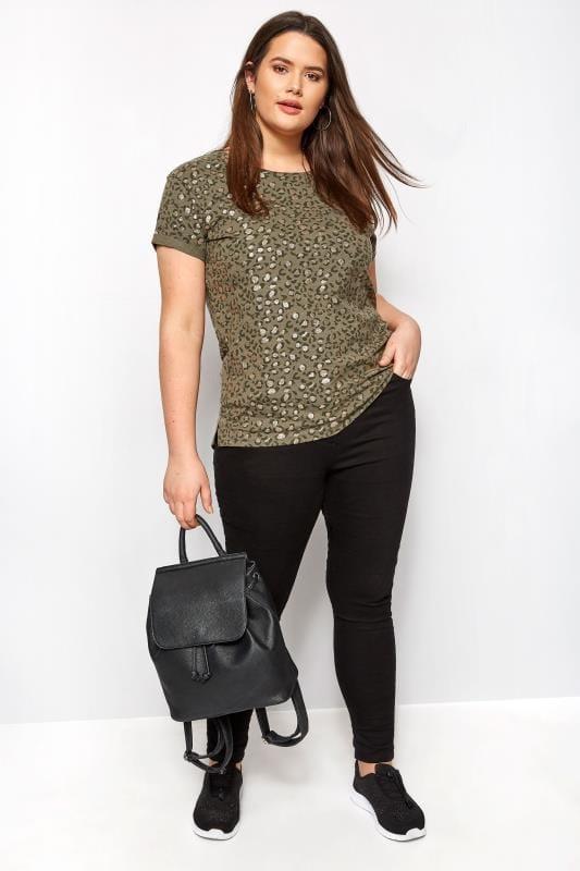 Khaki Animal Print Glitter T-Shirt