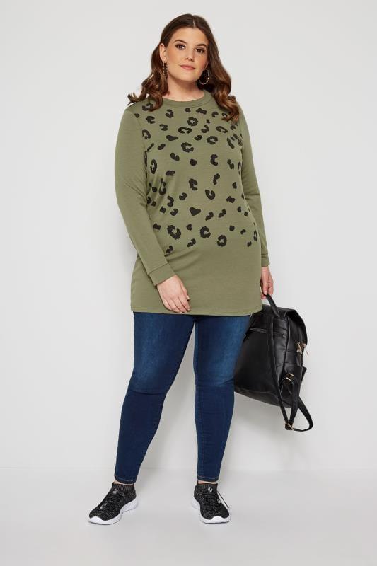 Khaki Animal Print Sequin Sweater