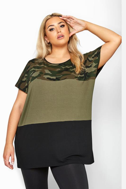 Khaki Camo Print Colour Block Top