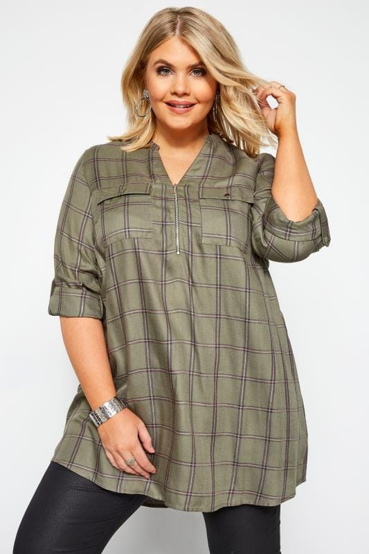Plus Size Shirts Khaki Check Metallic Zip Shirt