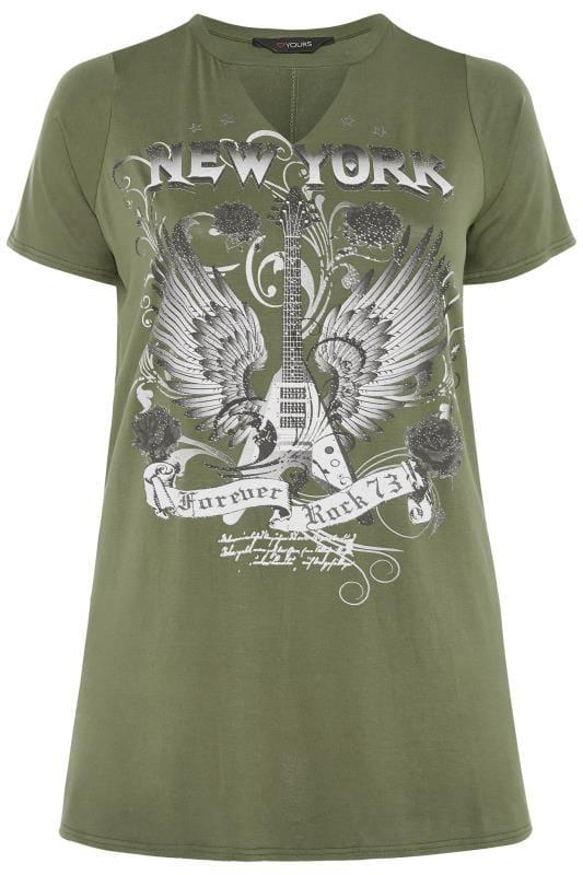 Plus Size Jersey Tops Khaki Choker Rock Slogan T-Shirt