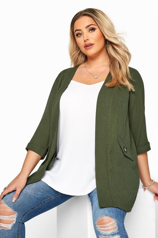 Plus Size Jackets Khaki Collarless Blazer Jacket