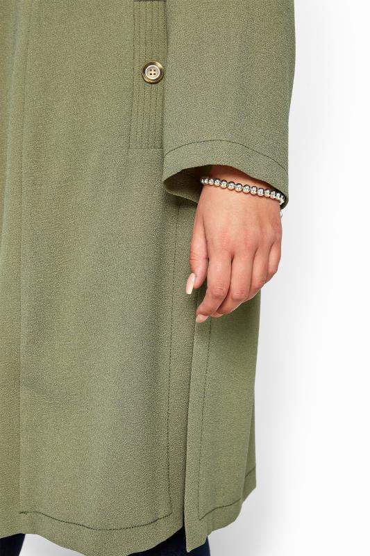 Khaki Crepe Longline Jacket