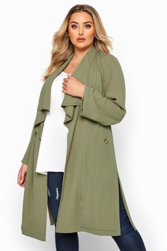 Plus Size Jackets Khaki Crepe Longline Jacket