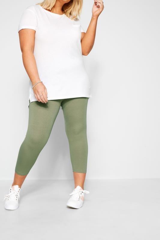 Plus Size Cropped & Short Leggings Khaki Cropped Leggings