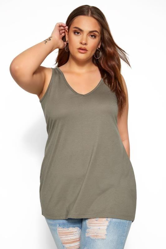 Plus Size Jersey Tops Khaki Cross Back Vest Top