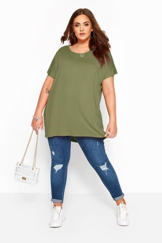 Khaki Dipped Hem Top