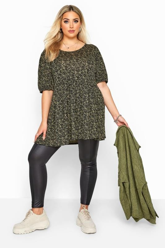 Plus Size Jersey Tops Khaki Ditsy Balloon Sleeve Peplum Top