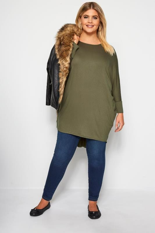 Khaki Extreme Dipped Hem Top