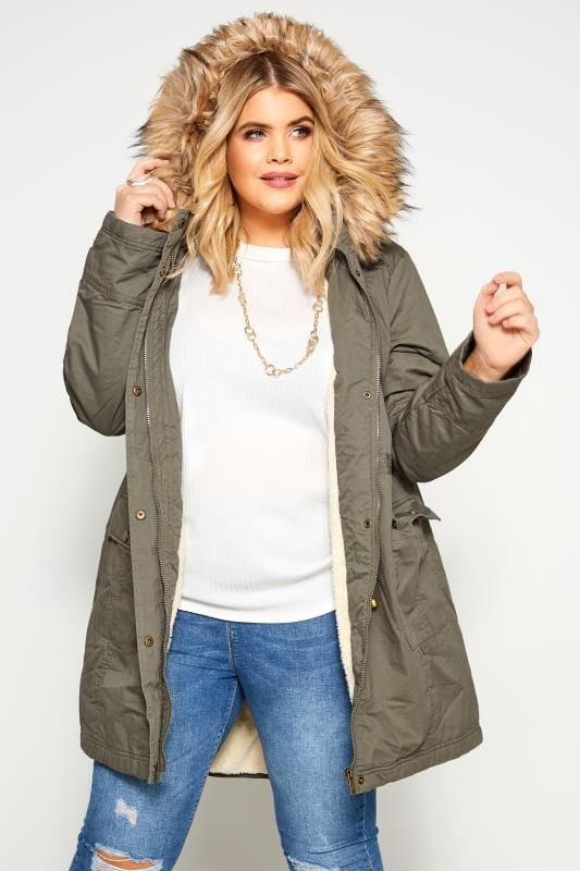 Khaki Fleece Lined Faux Fur Hooded Parka