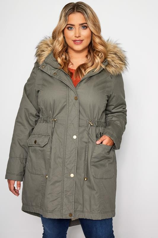 Plus Size Parkas Khaki Fleece Lined Faux Fur Hooded Parka