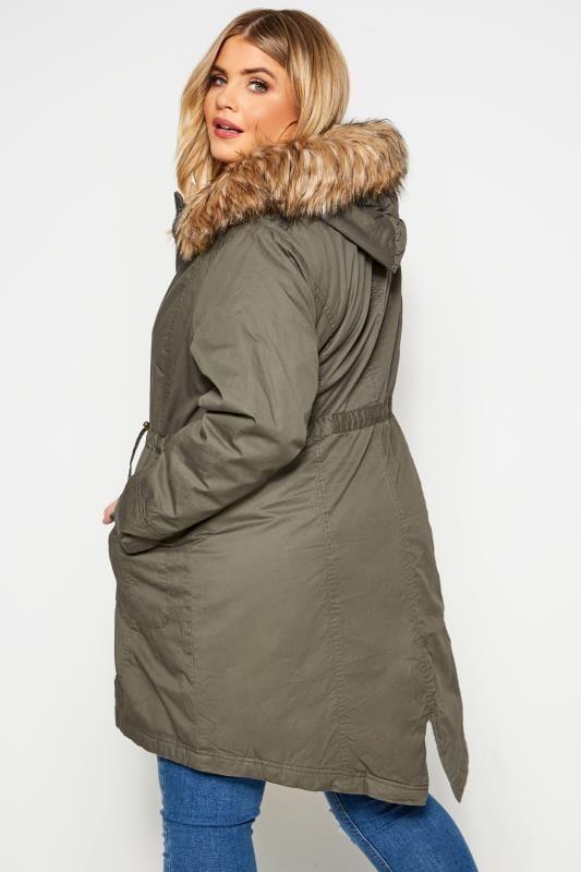 Khaki Fleece Lined Faux Fur Hooded Parka