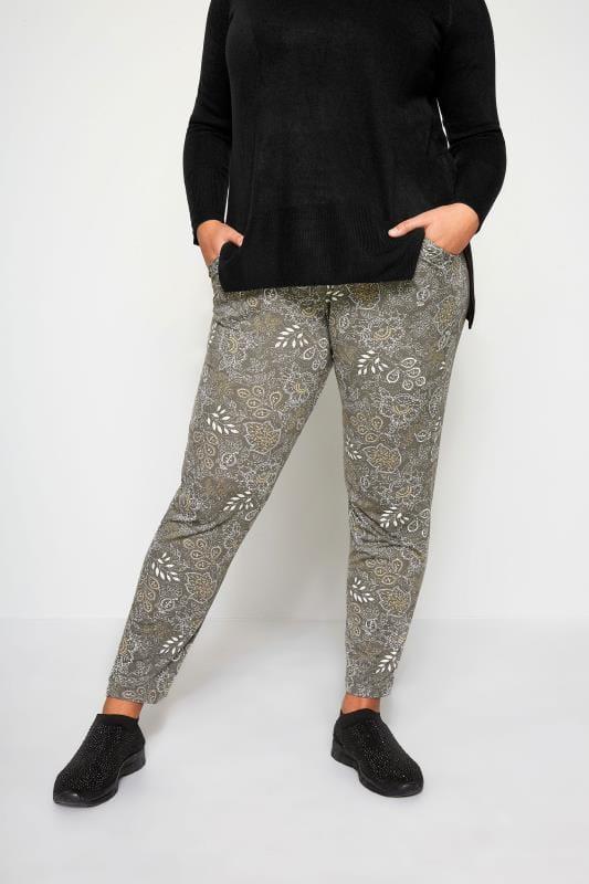 Plus Size Harem Trousers Khaki Floral Paisley Harem Trousers