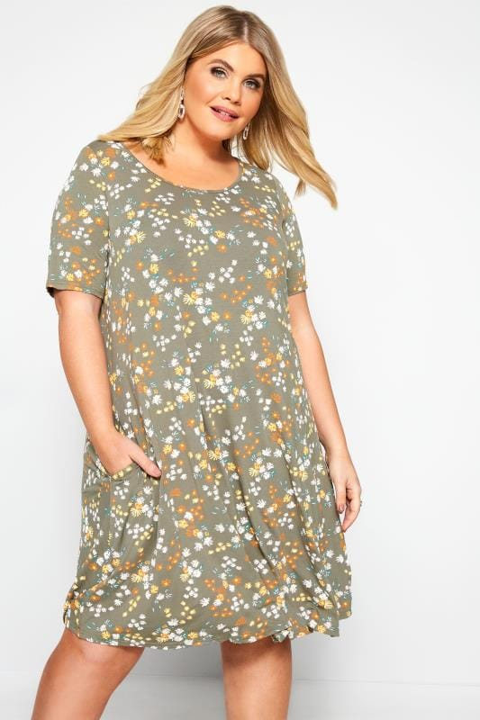 Plus Size Swing Dresses Khaki Floral Pocket Swing Dress