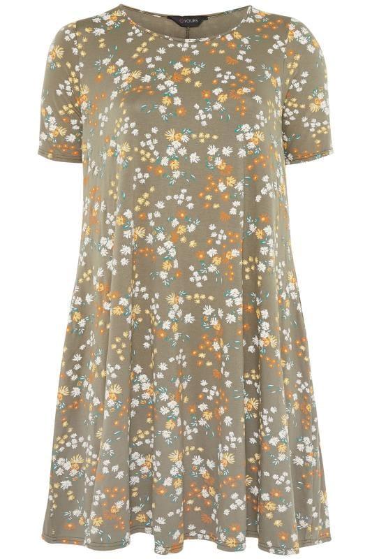 Blumen-Kleid mit Taschen - Khaki
