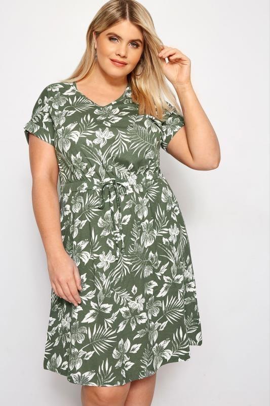 Plus Size Casual Dresses Khaki Floral T-Shirt Dress