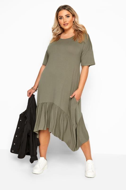 Plus Size Jersey Dresses Khaki Frill Hanky Hem Dress