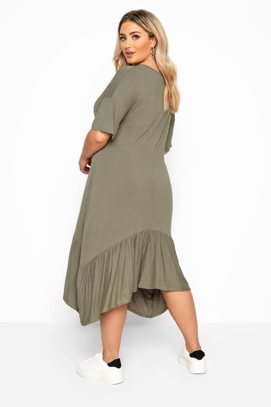 Robe Verte Kaki En Jersey Ourlet Asymetrique Grande Taille 44 64 Yours Clothing