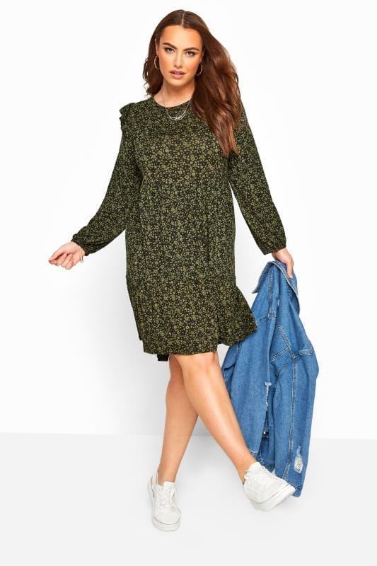 Plus Size Casual Dresses Khaki Green & Black Ditsy Floral Frill Dress