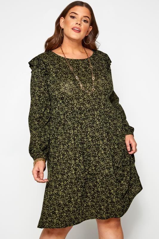 Khaki Green & Black Ditsy Floral Frill Dress