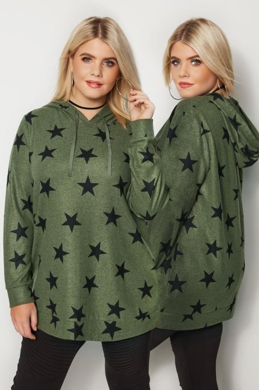 Khaki Green & Black Star Print Hoodie