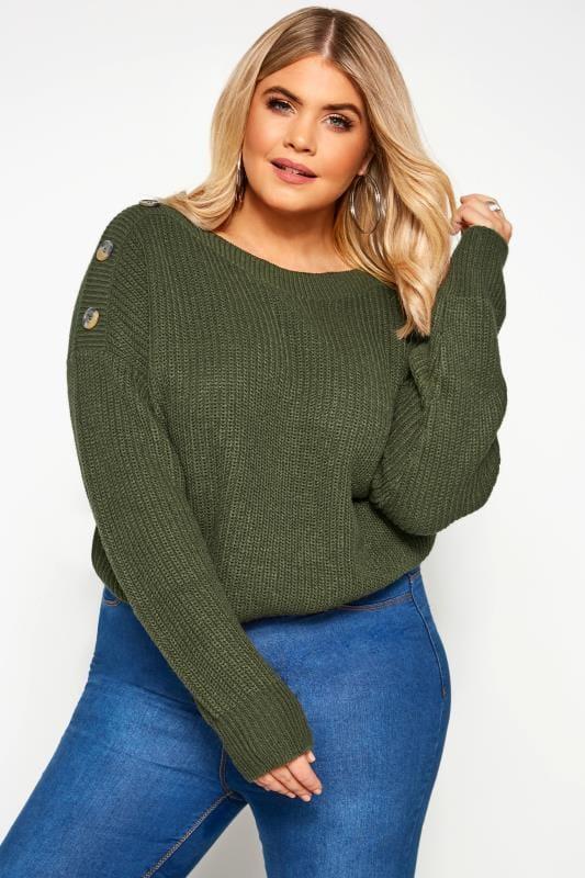 Khaki Green Button Shoulder Jumper
