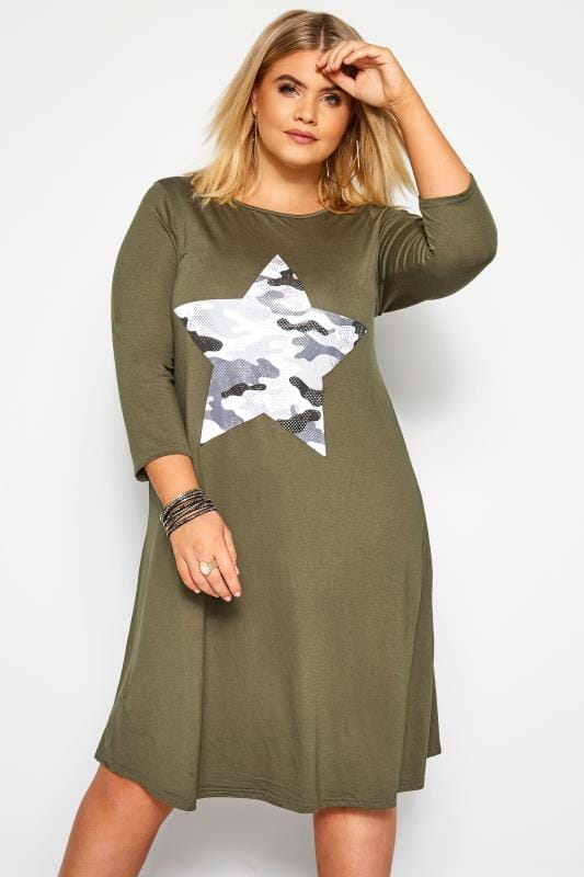 Plus Size Swing Dresses Khaki Green Camo Foil Star Swing Dress