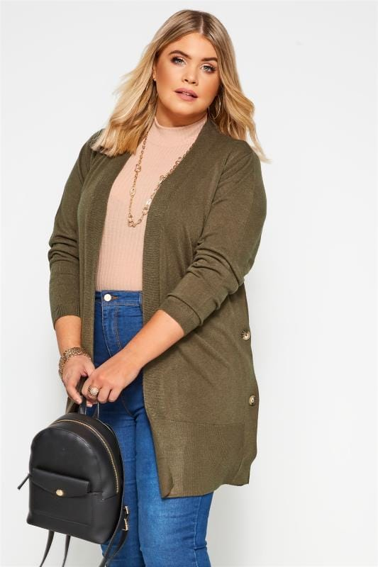 Plus Size Knitted Cardigans Khaki Green Cashmilon Button Side Cardigan